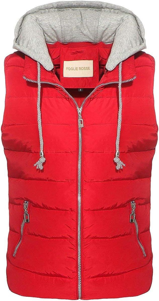 OSAB-Fashion 4546 Damen Steppweste Bodywarmer Kapuze /Ärmellose Gef/ütterte Weste Streetwear