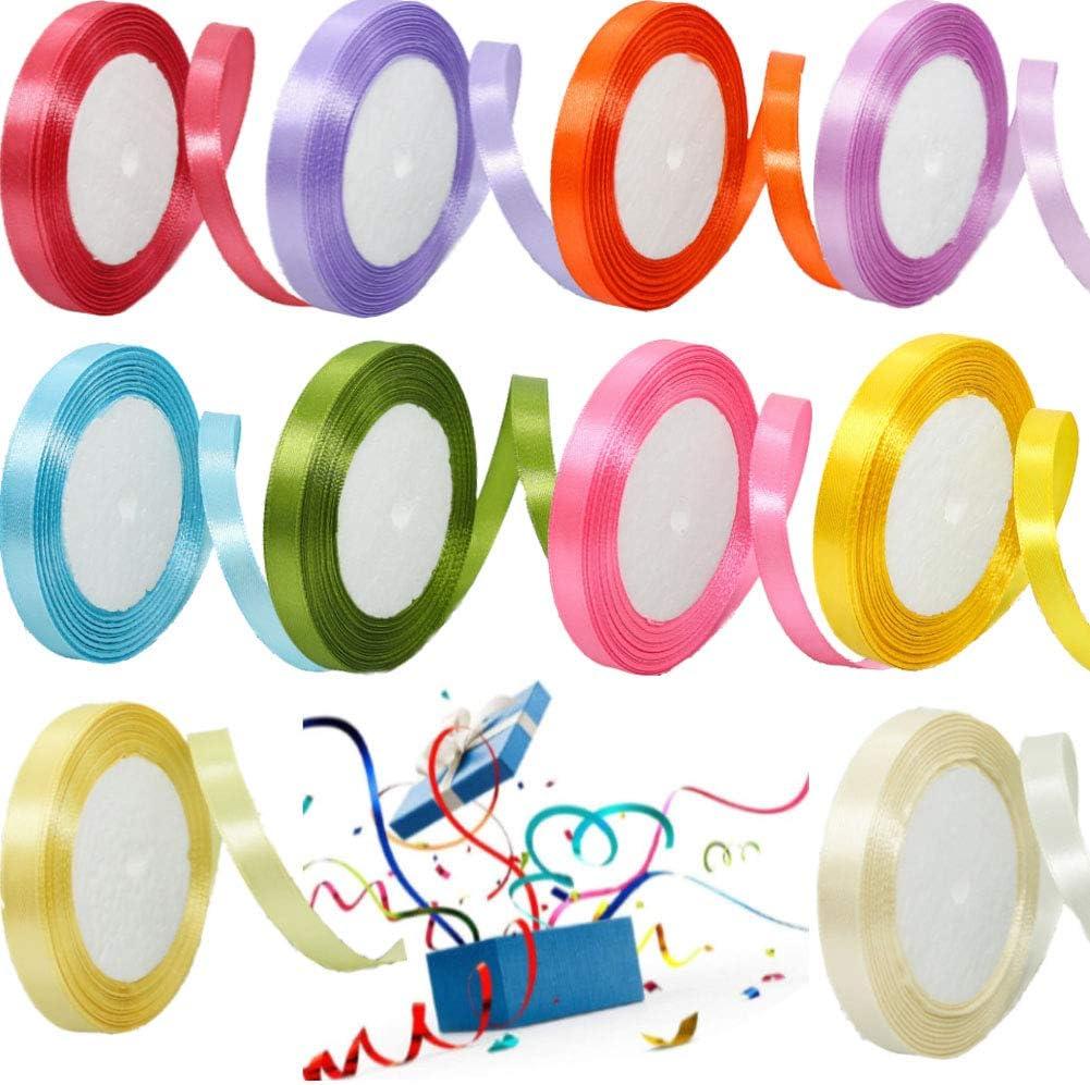 Cinta de Raso Cinta de Tela 10 mm de ancho,10 rollos Doble Cara Rollo de Raso de sat/én de seda para Embalaje Decoraci/ón de Regalo Cajas Flores Boda Navidad