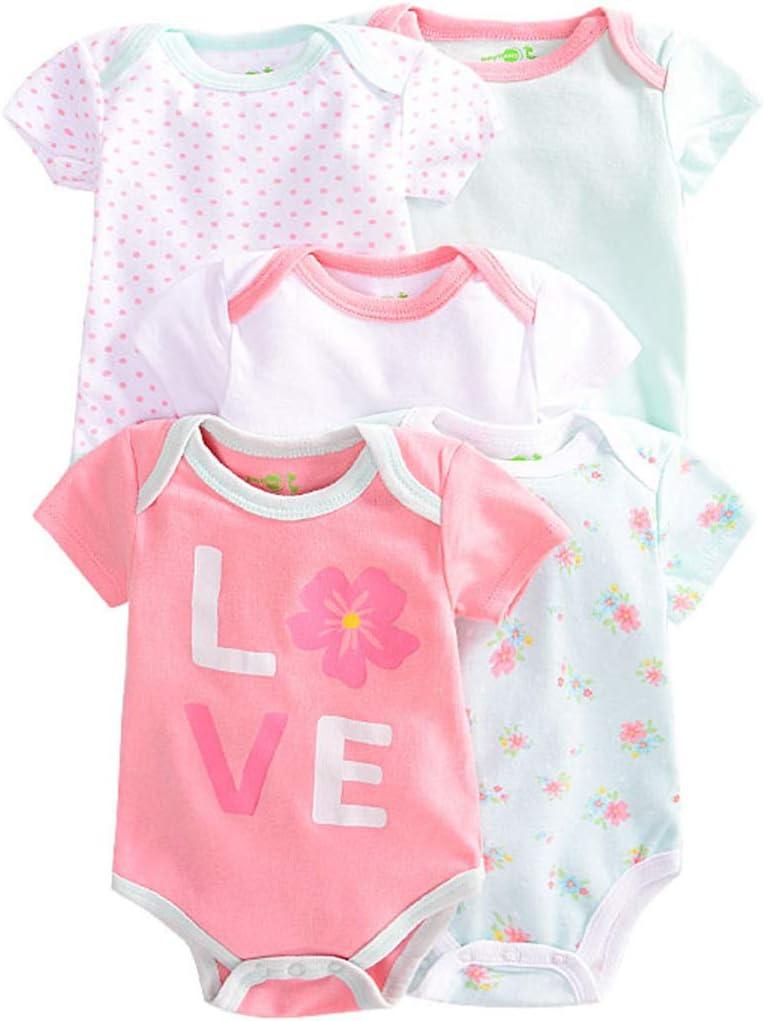 Pack de 5 Bebé Body Mono de Manga Corta Mameluco Algodón Peleles Comodo Pijama Regalo de Recien Nacido, 3-6 Meses