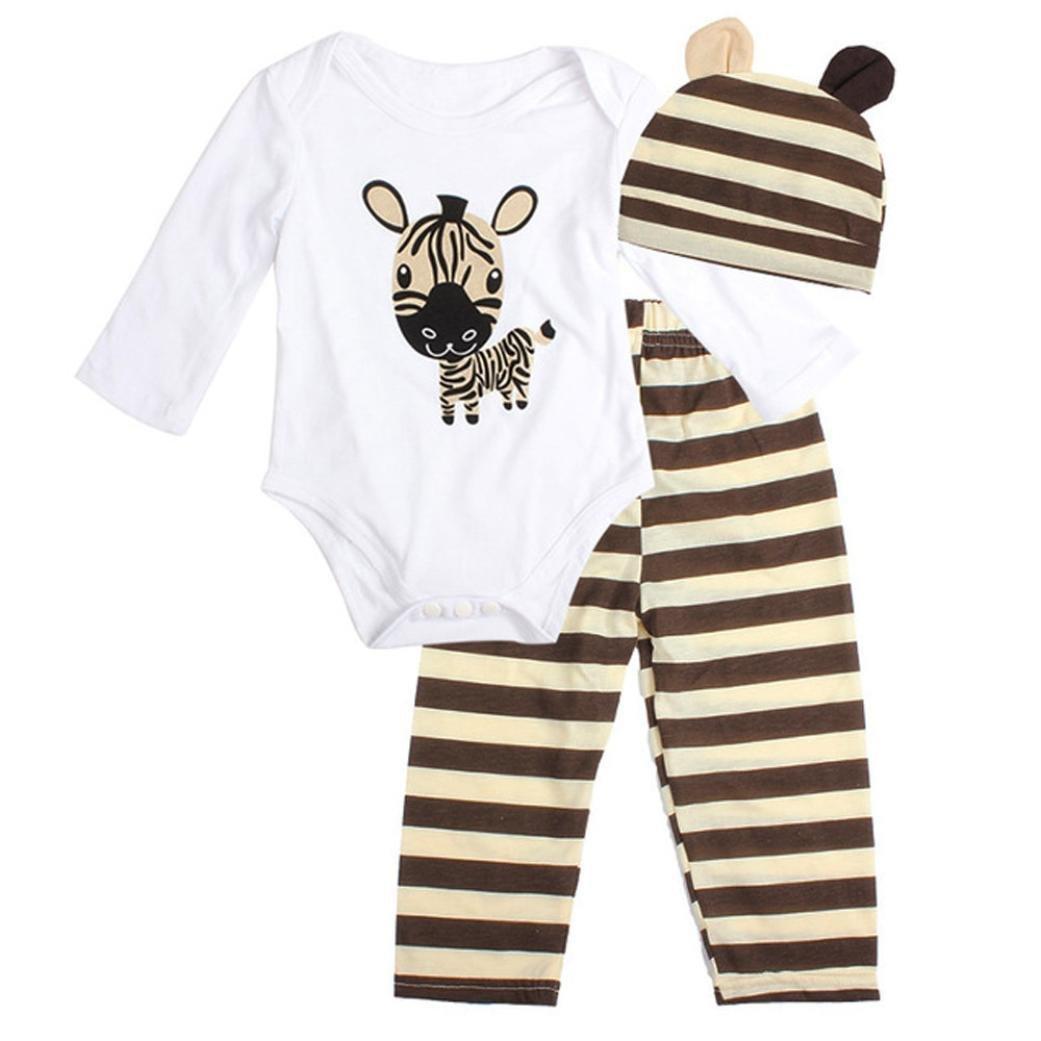 009c21bd9e Amazon.com  3Pcs Set Newborn Baby Girl Boy Long Sleeve Bodysuit Pants Hat  Outfit Clothes  Clothing