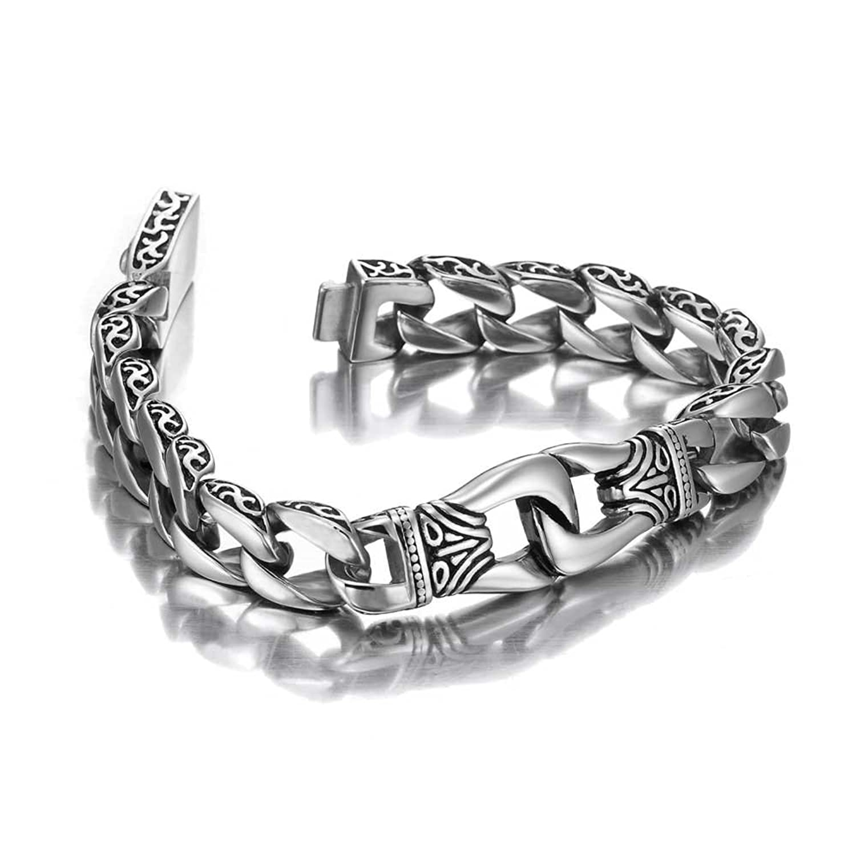 Amazon.com: Amazing Stainless Steel Men\'s link Bracelet Silver ...