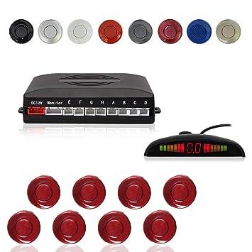 Radar Aparcamiento Sensor Sistema, Cocar Coche Aparcamiento Kit con 8 Estacionamiento Sensores + Detección de Distancia + Sonido Advertencia(Fiat Rojo ...