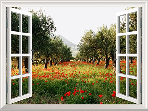 Removable Wall Sticker Wall Mural Poppy Fields under Trees in a Orchard Creative Window View Wall Decor