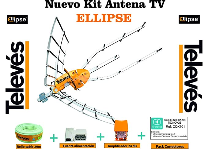 Kit Nueva Antena TELEVES Ellipse + Amplificador 24 dB + Rollo DE Cable + Conexiones