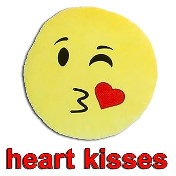 Cojín redondo de emoticono de Kiss Emoji, color amarillo ...