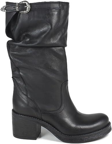 In Time Stivali Biker Boots metà Polpaccio Tacco Donna 0294