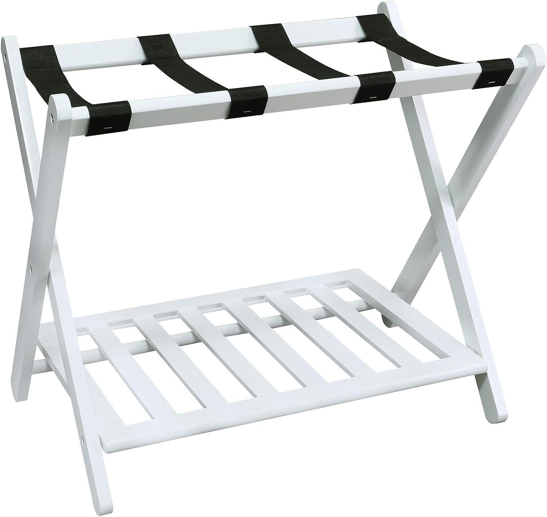 "Casual Home Shelf-White Luggage Rack, 28"" Wide"