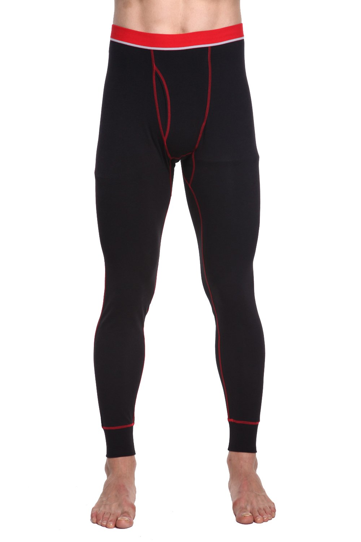TONLEN Men's Mid-Weight Thermal Pants Cotton Long Johns Long Underwear Black XL