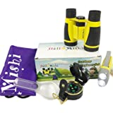 Outdoor toy for kids - 5 pieces outdoor explorer kit includes kids binoculars; Flashlight; Compass; Magnifying glass; Carrying bag;adventure set for boys & girls;Best New Year & Birthday Gift