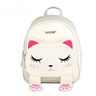 Cute Cat Backpack School Women Pu Leather Backpacks Teenage Girls Funny Cats  Ears Canvas Shoulder Bags bfb8e401c27a6