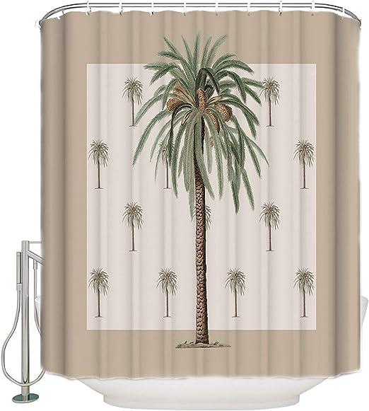 zoe garden shower curtain set with hook 48 x 72 tropical plants in summer beach palm trees bathroom decor waterproof polyester fabric bathroom