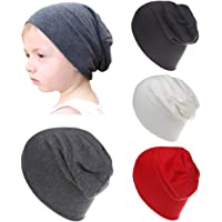 (Gray Beige Brown Red) - Qandsweet Baby Boy's Hat Kids Cool Knit Beanie Hats Toddlers Caps (4 Pack Boy)