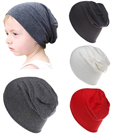 823c6e86059 Qandsweet Baby Boy s Hat Kids Cool Knit Beanie Hats Toddlers Caps (4 Pack  ...