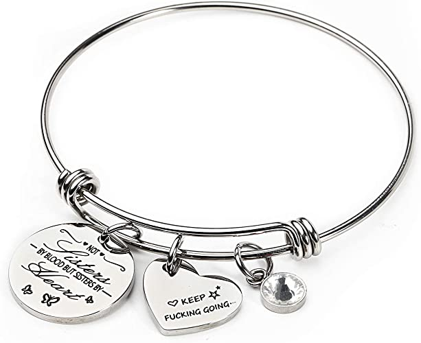 Not Sisters by Blood But Sisters by Heart Cuff Bangle Bracelet Sister Jewelry Best Friend Bracelet for 2