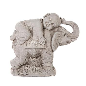 Garden Ornaments By Onefold BU7 Buddha On Elephant Stone Garden Statue,  Grey, 52x30x49 Cm