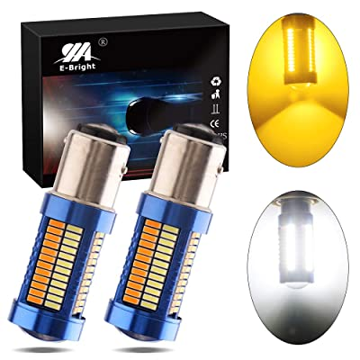 EverBright 1157 Switchback LED Turn Signals BAY15D 7528 2057 2357 Light Bulb for Turn Signal Bulb Daytime Running Lights Parking Light, 108SMD 3014Chipset, Amber/White (Pack of 2): Automotive