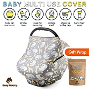 Nursing Breastfeeding Cover Scarf by Busy Monkey-Multi-use Baby & Infant Breastfeeding, Car Seat, Shopping Cart, High Chair, Stroller Canopy for Boys and Girls-Infinity Stretchy Shawl, Baby Shower