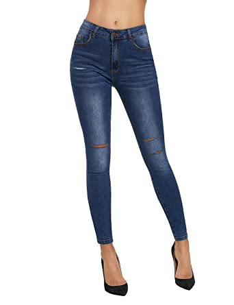 0ade806b6bed99 luvamia Women's Blue Casual Ripped Knee Slit Mid Rise Washed Denim Skinny  Jean Pants Size Large (Fits US 10 - US 12) at Amazon Women's Jeans store