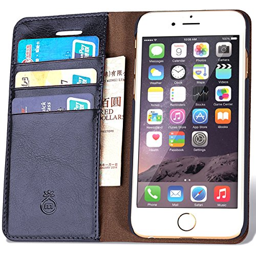 Leather Wallet Phone Case with Slim Flap Cover and Card Slots 3 Cards
