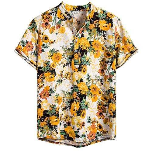 IHGTZS Shirts for Men, Summer Classic Fit Check Non-Iron Dress Shirt Gift for Father Boyfriend Mens Ethnic Short Sleeve Casual Cotton Linen Printing Hawaiian Shirt Blouse Yellow]()