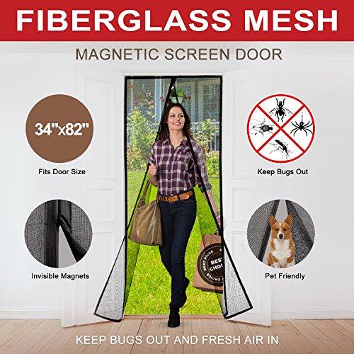 Magnetic Screen Door with Durable Fiberglass Me...