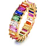 Barzel 18K Gold Plated Emerald-Cut Multi Color Created-Gemstone Eternity Ring