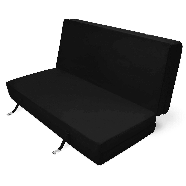 Beautissu Cómodo colchón Plegable Campix Auxiliar futón 120 x 195 x 7 cm Ahorra Espacio Tela Microfibra Negro: Amazon.es: Hogar