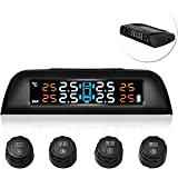 Favoto New TPMS Car Tire Pressure Monitoring System Wireless Solar Powered with 4 External Sensors Real-Time Display PSI/Bar and ℃/ ℉ Switchable for Cars SUV Trucks MPV and Other Models