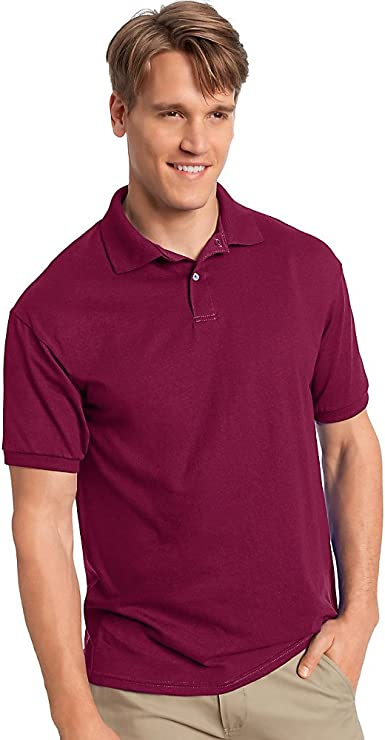 Hanes Mens Cotton-Blend EcoSmart Jersey Polo,,Cardinal,,L,2PK