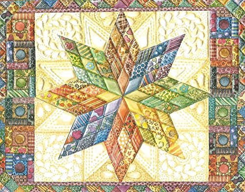 Price comparison product image Carol Wilson Star Quilt 10 ct Embossed Blank Note Card Set For Arts Sake