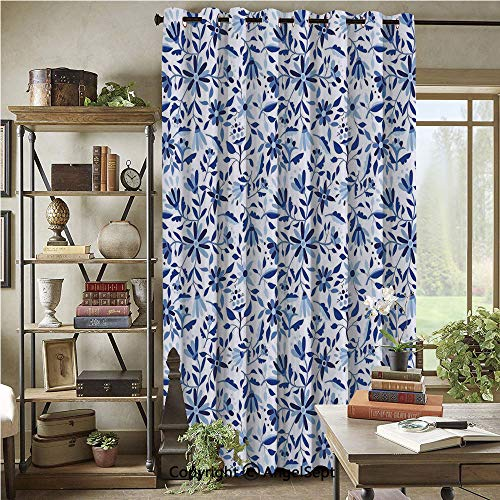 Blackout Curtains with Grommet,Asian Modern Minimalist Spring Time Flowers Swirls Leaves Image,72x96inch(1 Panels),Light Blue Navy Blue and White