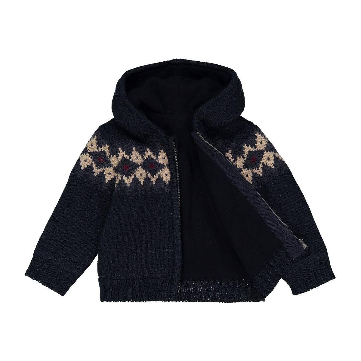 La Redoute Collections Big Boys Jacquard Hooded Cardigan 1 Month-3 Years