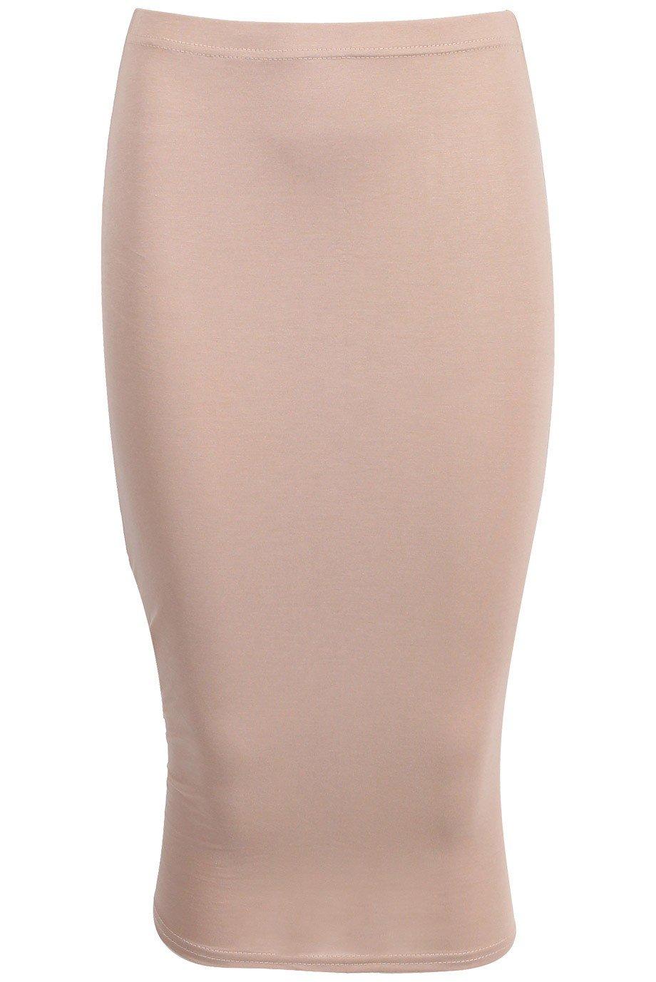 Ladies Girls Jersey Bodycon Pencil Skirt USA Size 6-12 (S/M (USA 6-8), Stone)