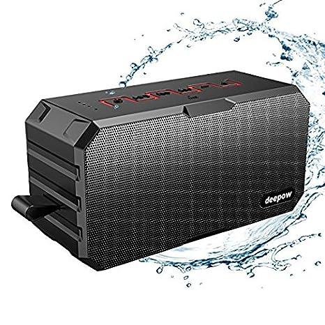 BluetoothAltavoz Deepow W IP Impermeable Estéreo AltavocesInalámbrico Altavoz Portátil con Subwoofer MicrófonoIncorporado