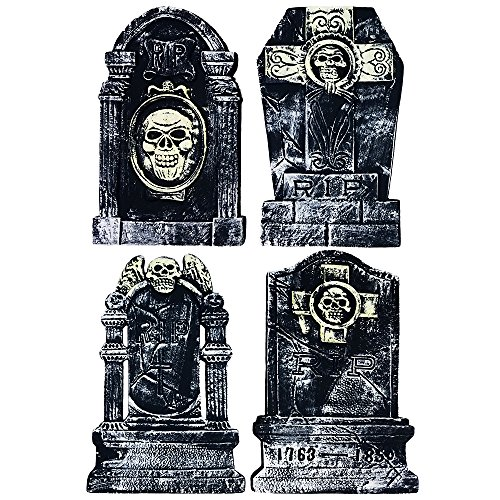 Plastic Tombstones Halloween (Colonel Pickles Novelties Halloween Tombstone 20 Inch - 4 Piece Set for Creepy Yard Halloween Decorations & Party)