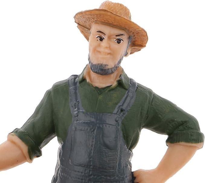 Simulation Farmer Man People Model Action Figures Kids Toys Desktop Display