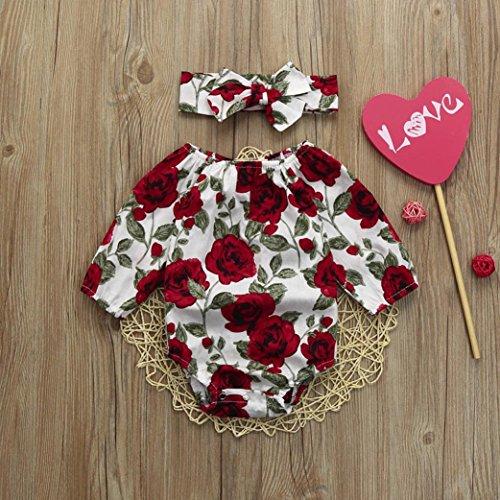 OUBAO Newborn Toddler Boy Girl Floral Romper+Headband Jumpsuit Bodysuit Outfits Set