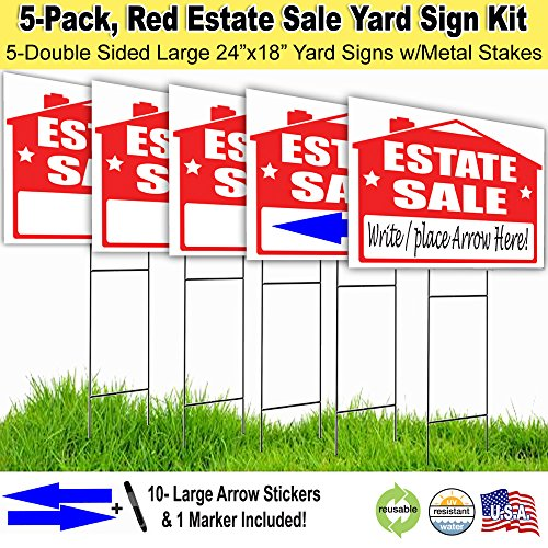 Estate Sale Lawn Sign Kit with Free Permanent Poster Marker and Arrow Stickers (5)