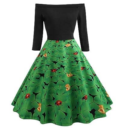 11de670a72ef Amazon.com: Women St Patrick's Day Clover Print Long Sleeve Off Shoulder  Vintage Swing Dress (XXL, Green 5): Musical Instruments