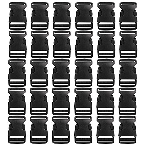 30 Pack Plastic Buckles, YGDZ 1 Inch Buckles Flat Side Quick Release Parachute Buckles for Backpack Bag Dog Collar Clasp(Black) (Small Buckle)