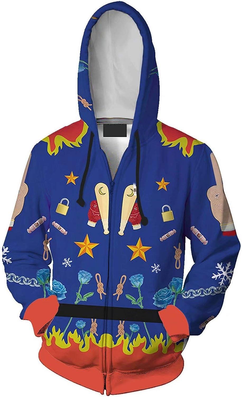 Pealongan Adult Harleen Quinzel Zip Up Hoodie Cosplay Costume
