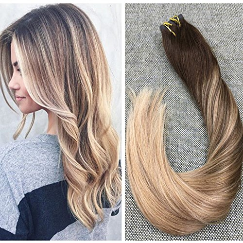 Ugeat 14inch Dark Brown Fading to Color #4 Mix Color Golden Blonde #12 100% Remy Brazilian Hair Ombre Tape in Straight Human Hair Extensions - Mix How Brown To Color