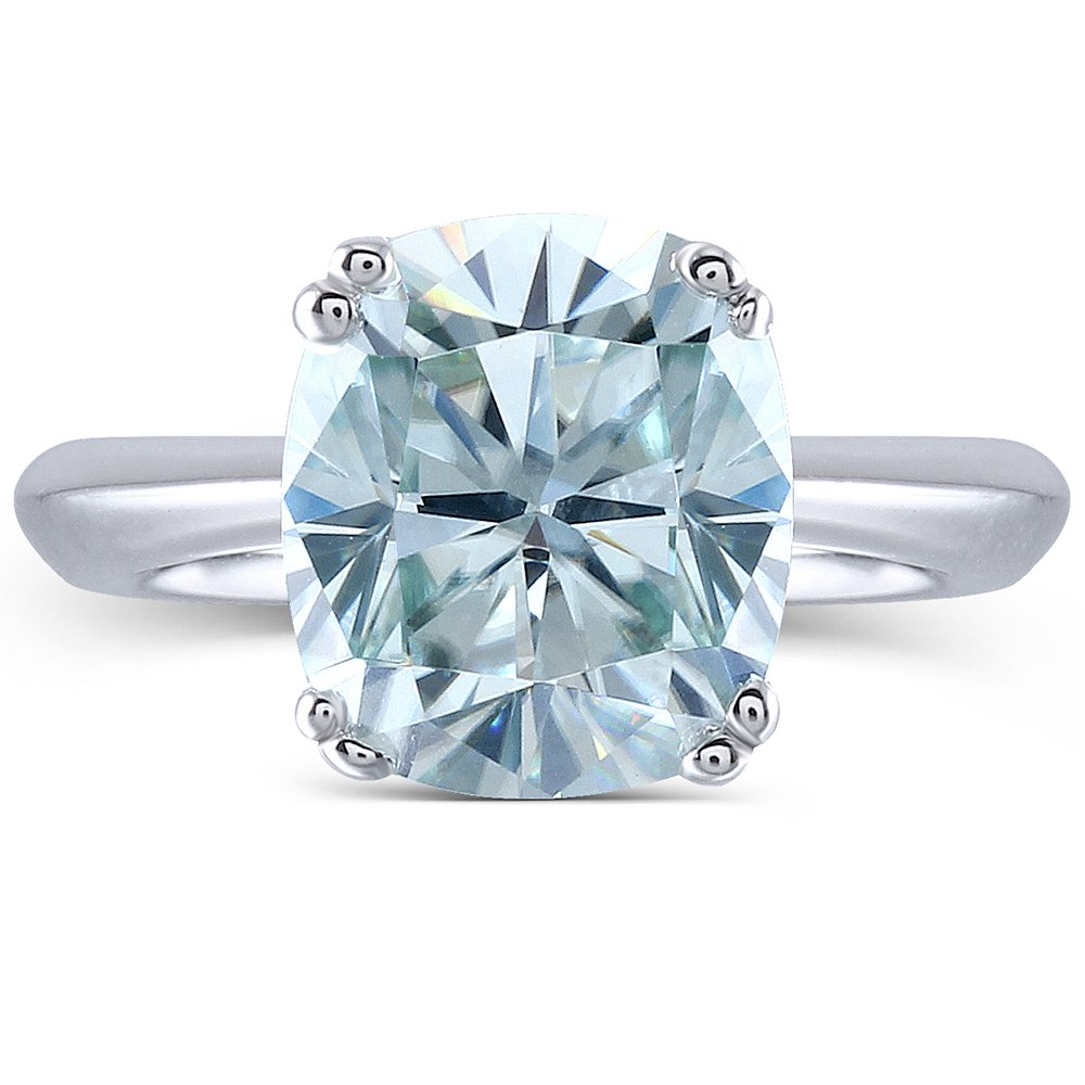 2ct 7X8mm Cushion Cut 2.4mm Width 8 Prongs Lab Grown Moissanite Engagement Rings Platinum Plated Silver(6.5)