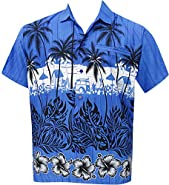 Men's Relaxed Fit Aloha Hawaiian Short Sleeves Button Down Hawaiian Shirt blue