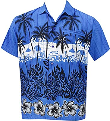 Men's Relaxed Fit Aloha Hawaiian Short Sleeves Button Down Hawaiian Shirt blue