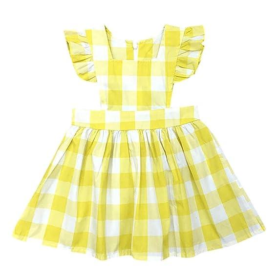 Beikoard Niña Vestido Liquidación, Faldas de Moda niñas Bebe Sol de Verano Vestido Plaid Volantes