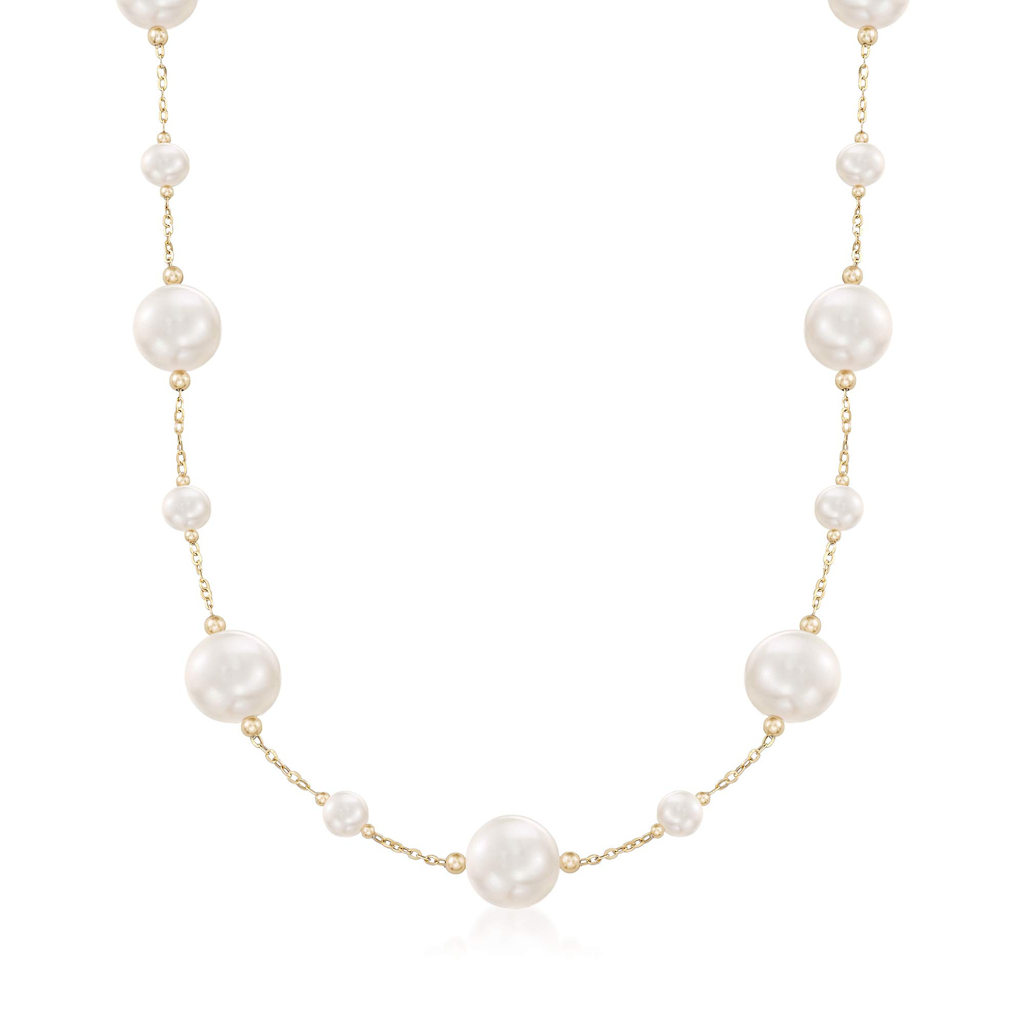 Ross-Simons 6-13mm Cultured Pearl Station Necklace in 14kt Yellow Gold