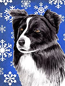 Caroline's Treasures SC9367CHF Border Collie Winter Snowflakes Holiday Flag Canvas, Large, Multicolor