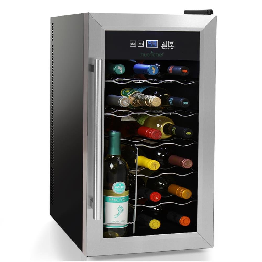 NutriChef 18 Bottle Thermoelectric Wine Cooler / Chiller | Counter Top Red And White Wine Cellar | FreeStanding Refrigerator, Quiet Operation Fridge | Stainless Steel by NutriChef