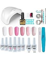 Vishine Gel Nail Polish Starter Kit with 48W SUNOne UV LED Nail Lamp Speed Dryer Manicure Tools 6 Pretty Colors Gel Polish Base and Top Coat #01